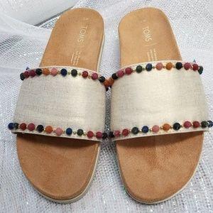 Toms Shoes - Toms Paradise Slide Pom Pom Sandal Size 7